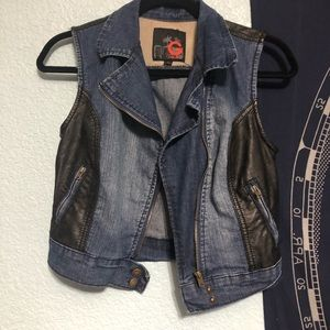 G by Guess jeans leather denim moto vest jacket